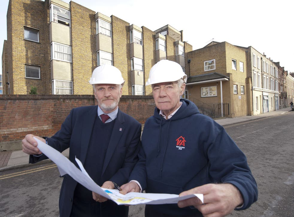 Colonel Geoffrey Cardozo, (right) and Dave Buckley discuss the plans for the home's redevelopment