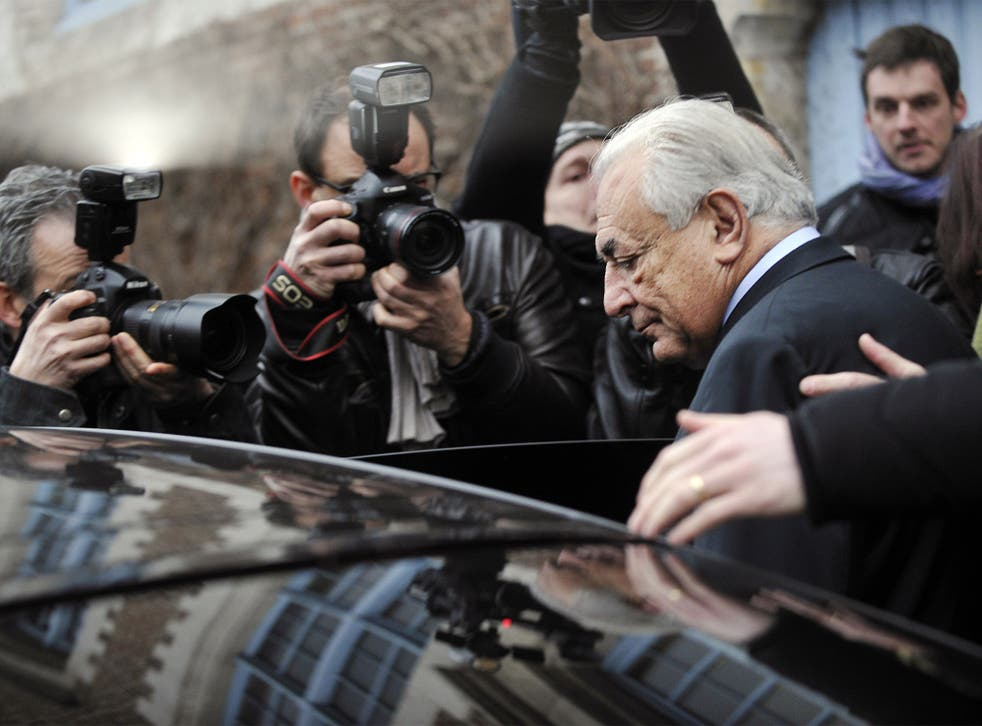 Dominique Strauss-Kahn leaving his hotel in Lille to attend his trial
