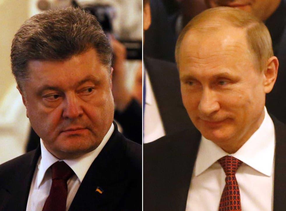 Ukrainian leader Petro Poroshenko and Russian leader Vladimir Putin