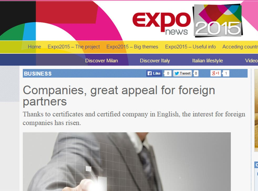 'Certificates and certified company in English' are offered at Expo 2015 in Milan, apparently