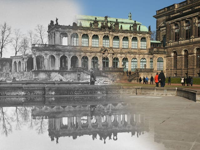 The Zwinger art museum in 1946 and how it looks today
