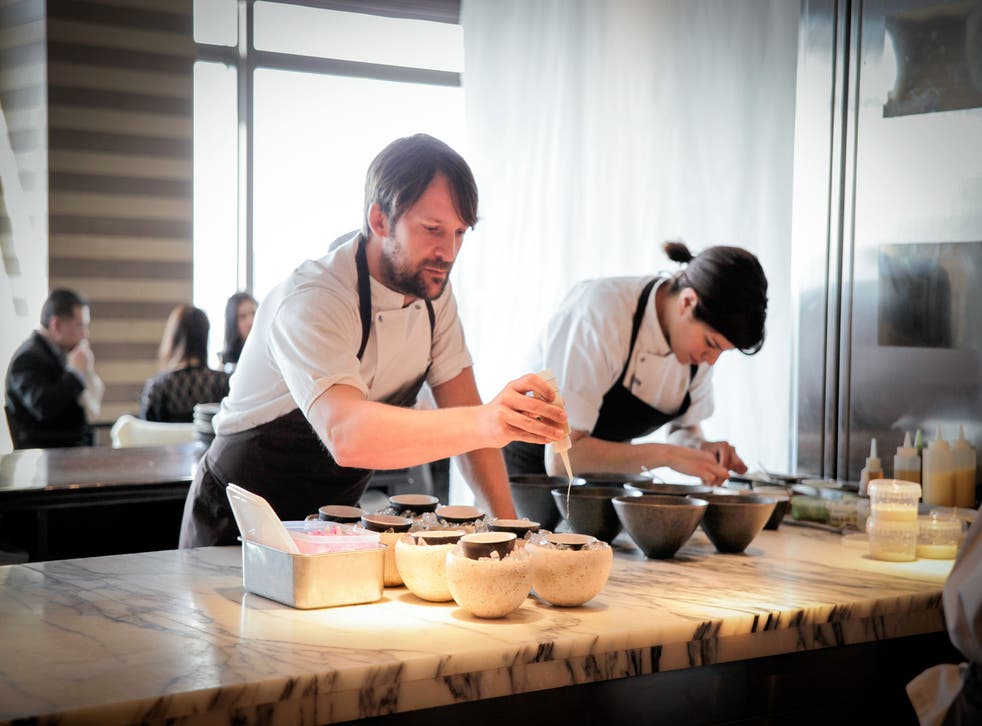 René Redzepi on the pass: Normally home to Signature, the Mandarin Oriental's 37th-floor dining room was completely redesigned for Noma's stay