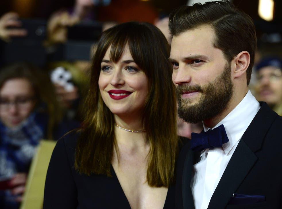 Dakota Johnson and Jamie Dornan attend the London premiere of Fifty Shades of Grey