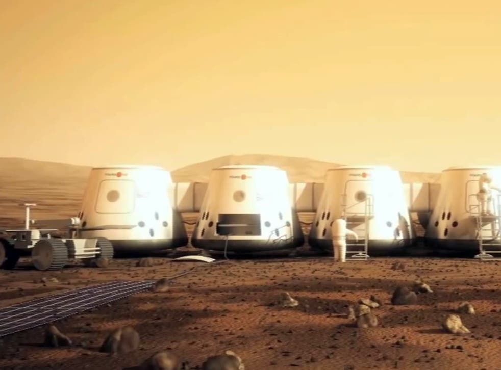 An artist's impression of how the Mars One settlement will look
