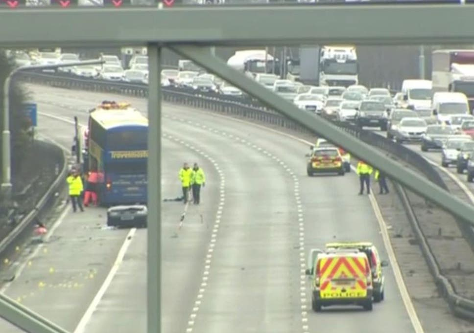 M1 crash: Three men killed after coach crashes into car on