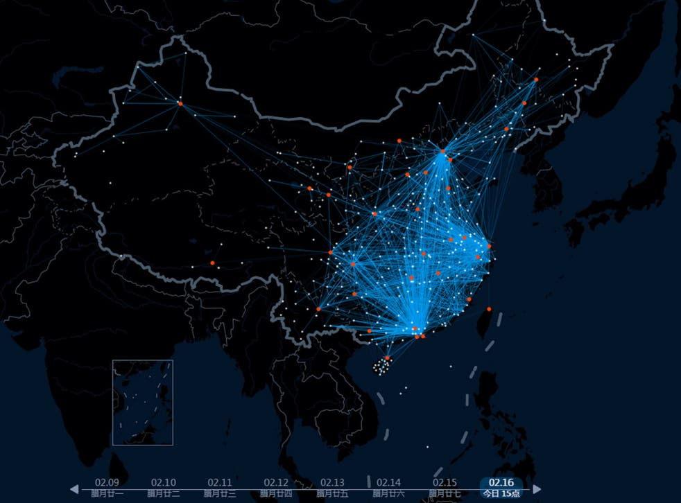 The map showing journeys in and out of major cities and towns in China today