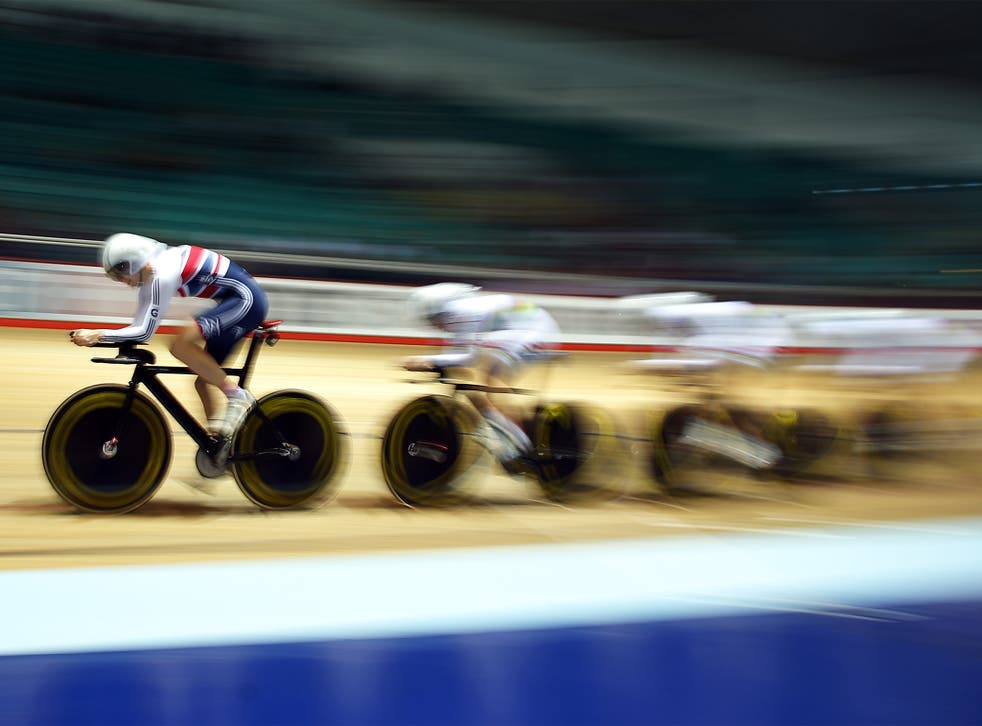 Joanna Rowsell leads the British team to a new world-record time in the qualifying round for the women's team pursuit at the 2013 Track Cycling World Cup in Manchester