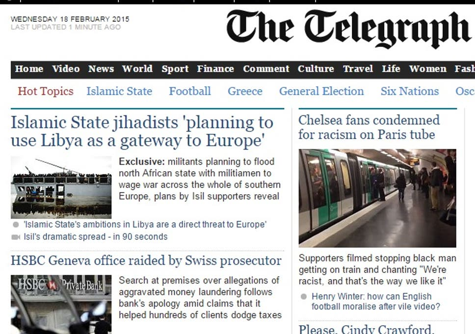 Telegraph puts HSBC scandal story on homepage morning after Peter