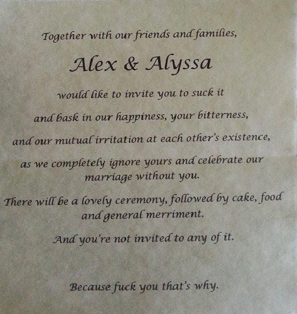 Bride cordially invites parents to suck it in wedding invitation ...