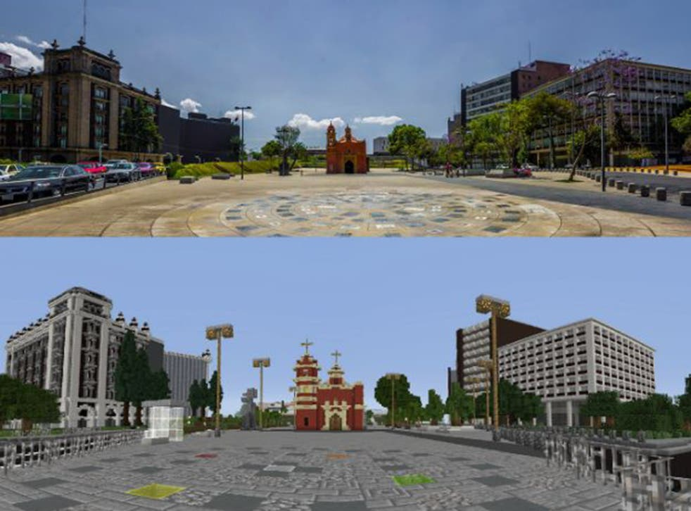 Another brick in the wall: Plaza Tlaxcoaque, a square in central Mexico City (top) and children's efforts to redesign it on Minecraft