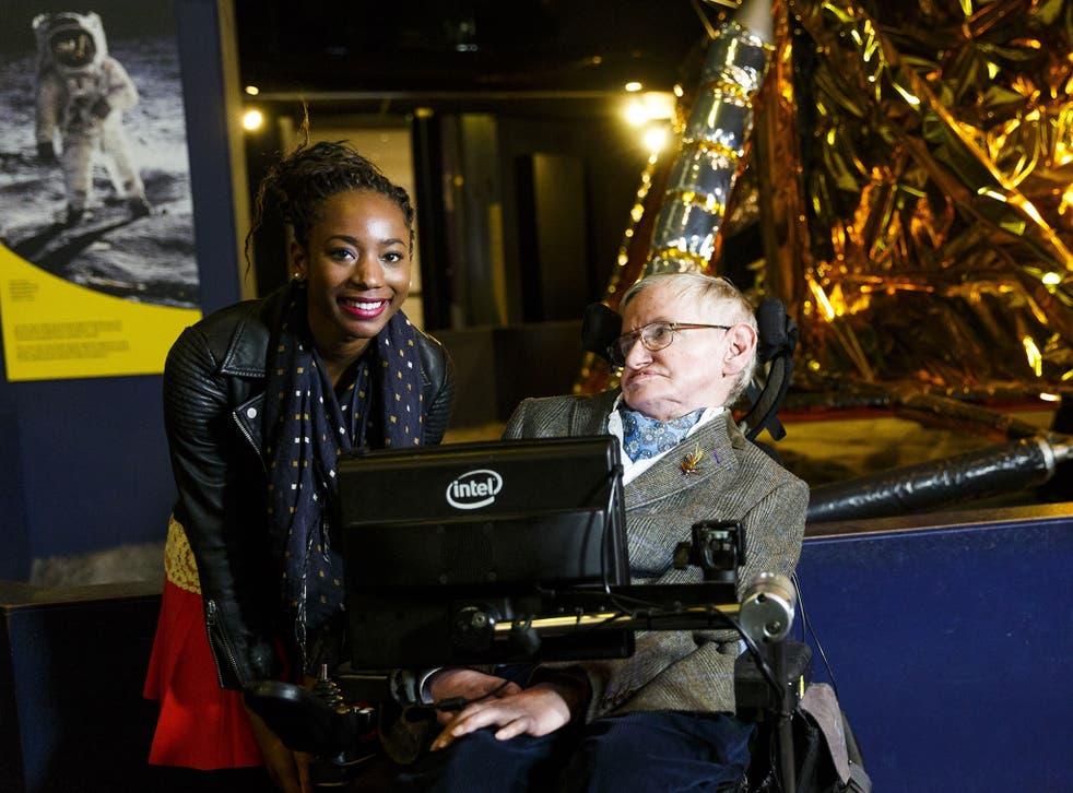 Professor Stephen Hawking with Adaeze Uyanwah yesterday