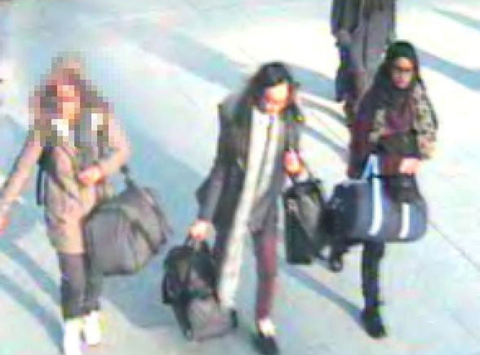 CCTV shows the three girls at Gatwick airport (PA)