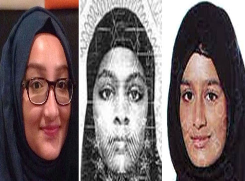 From left: Kadiza Sultana, Amira Abase and Shamima Begum