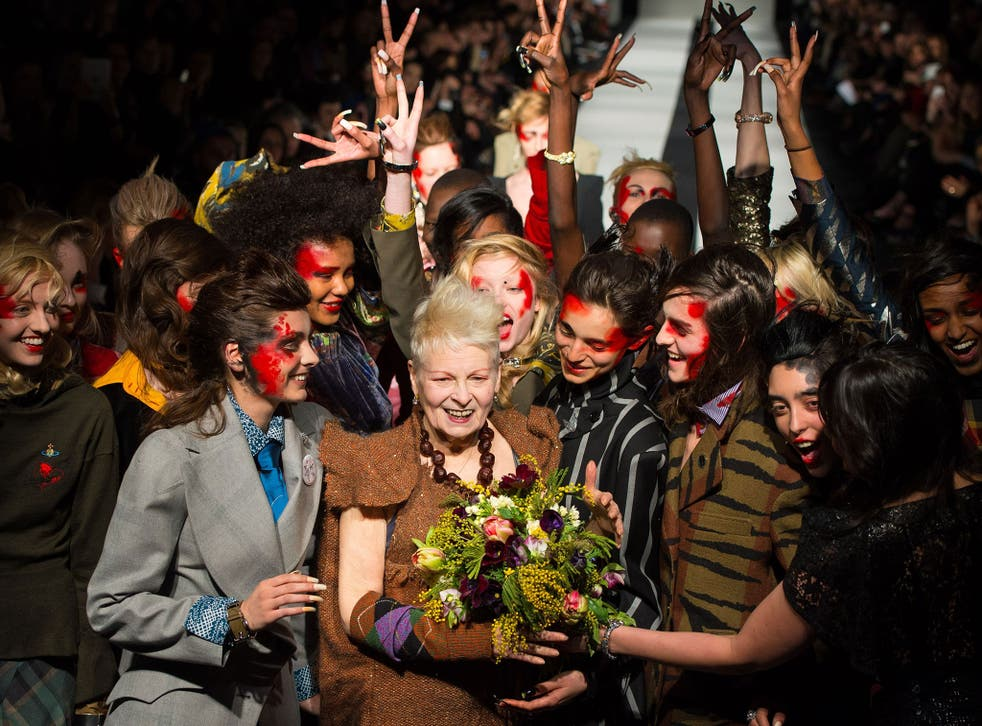 Dame Vivienne Westwood with her models on the catwalk