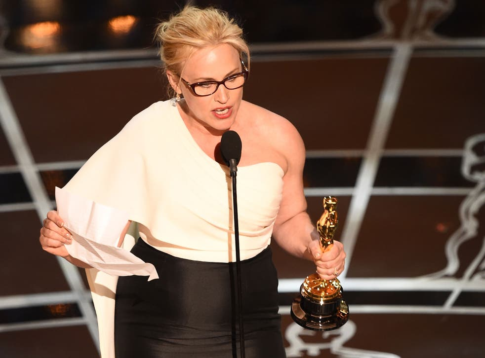 Patricia Arquette making her Best Actress acceptance speech and calling for equal pay at the Oscars