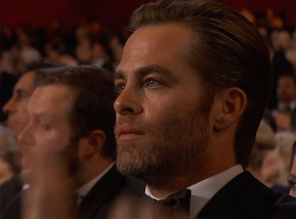 Chris Pine crying during Selma song Glory