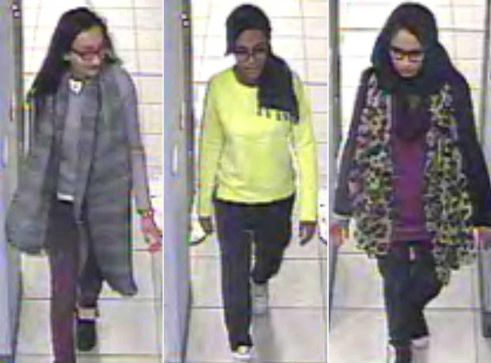 Kazida Sultana, 16, Amira Abase, 15, and Shamima Begum, 15, (left to right)