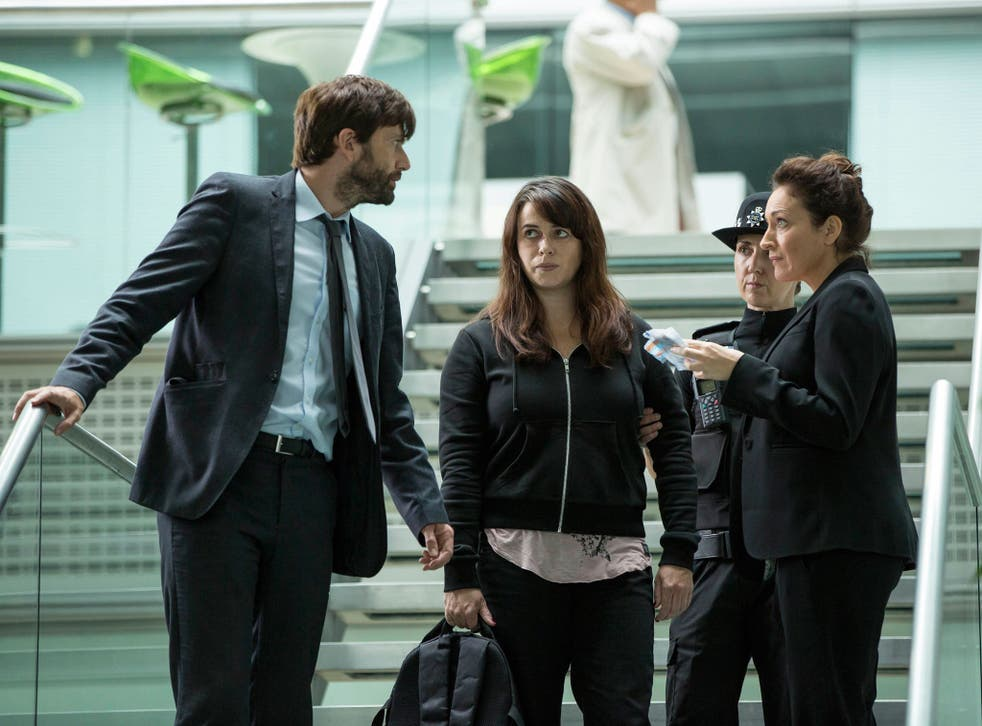 David Tennant, Eve Myles and Olivia Colman in Broadchurch series two