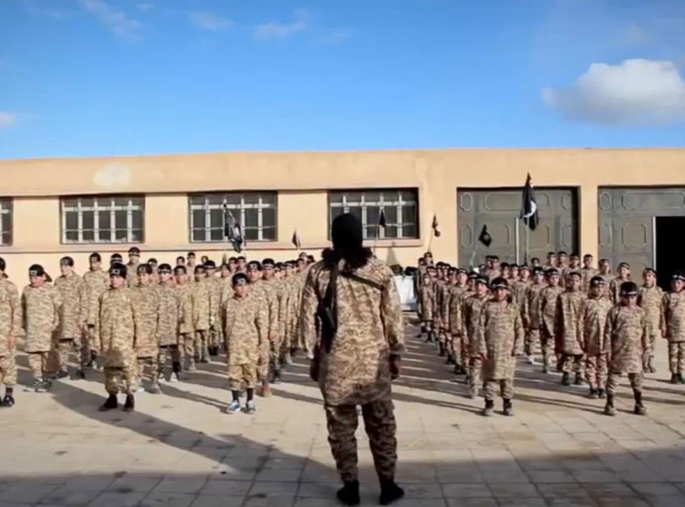 """A still of an Isis video called """"Al-Farouq Institute for Cubs"""" claiming to show a children's terror training camp"""