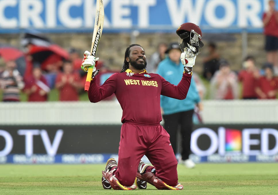 Chris Gayle celebrates after reaching his double century | Image Source: ICC