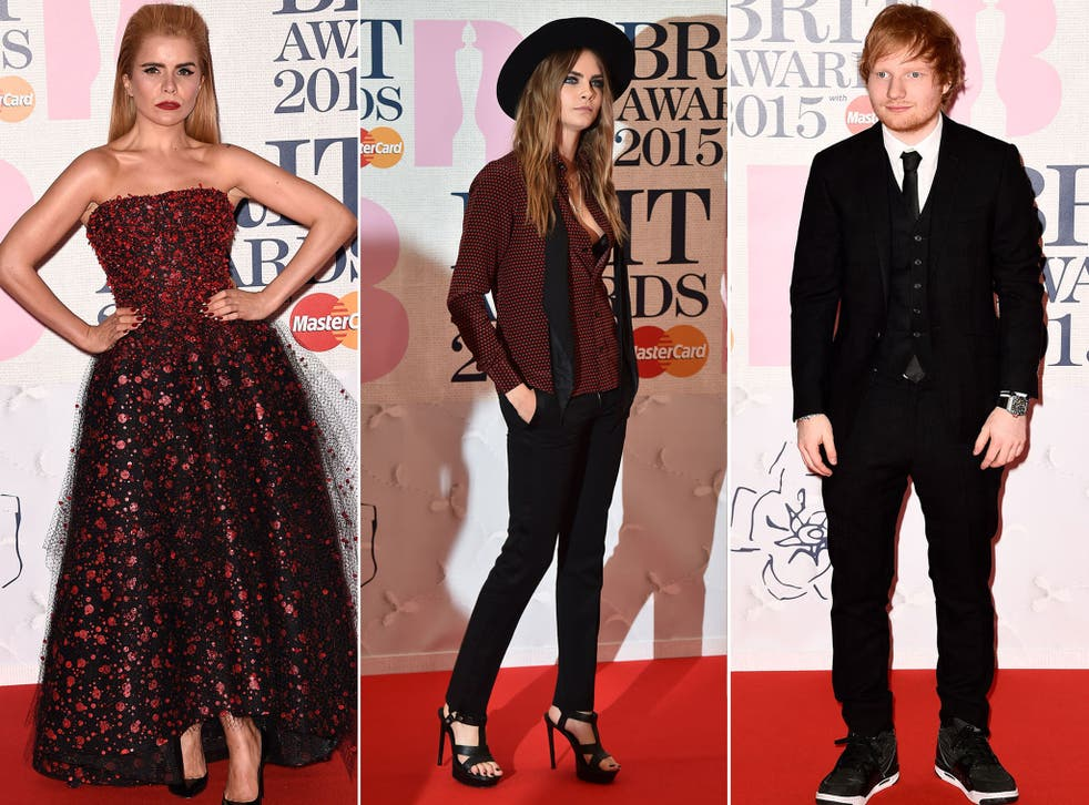 Paloma Faith, Cara Delevingne and Ed Sheeran at the Brit Awards 2015