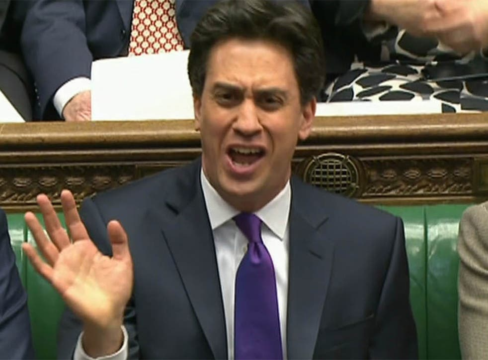 Ed Miliband during a heated debate at PMQs