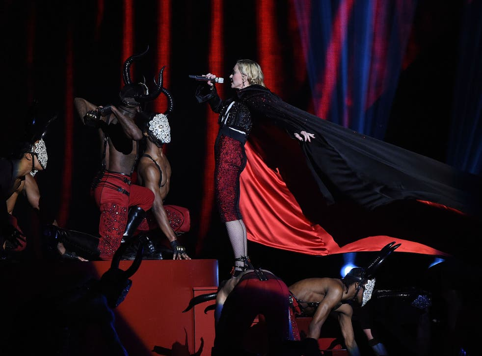 Madonna about to take a tumble at the Brit Awards 2015