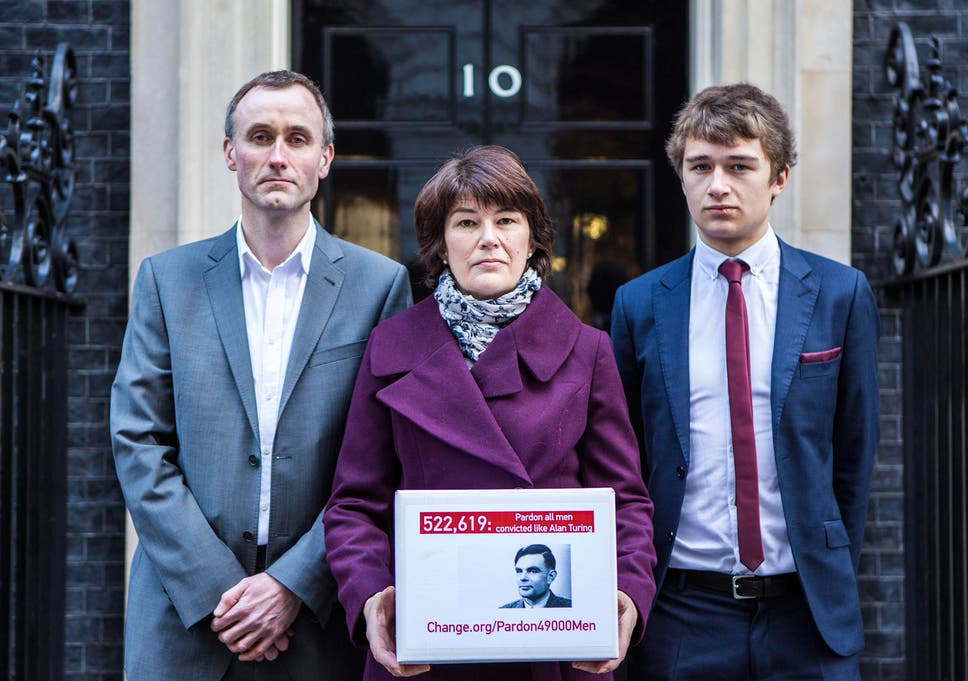 The family of Alan Turing deliver the change.org petition to Downing Street  signed by