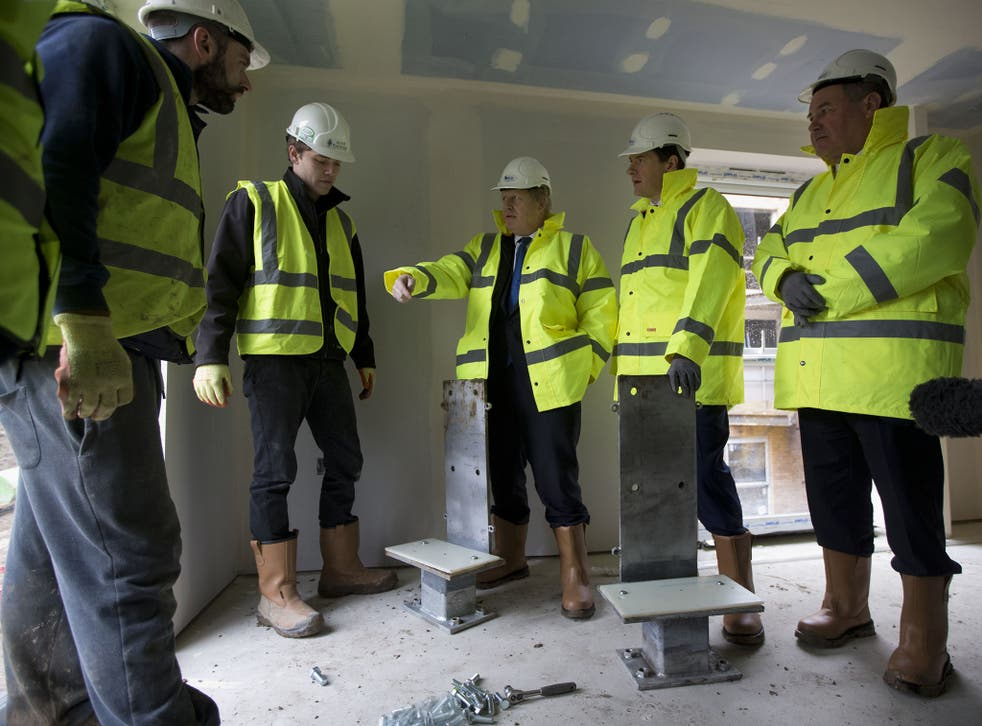 High and mighty: Boris Johnson and George Osborne, right of picture, at a housing development in Edgware, London (Getty)