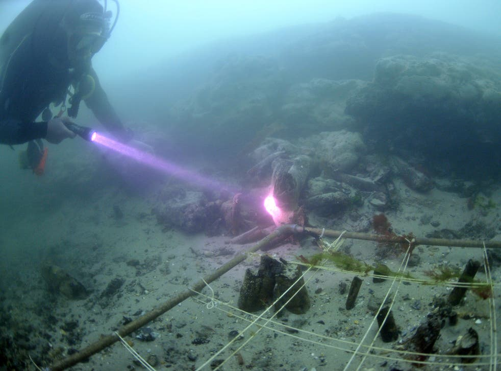 Divers at Bouldnor Cliff underwater site in the Solent off the Isle of Wight, where the silt sample containing the einkorn DNA was found