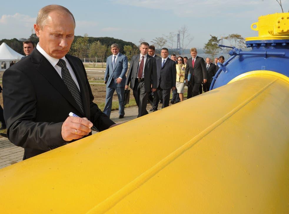 Vladimir Putin at a natural gas pipeline in Vladivostok in Russia's far east in 2011