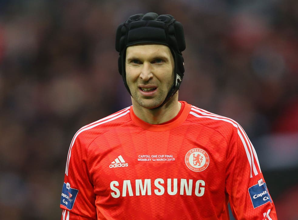 Petr Cech in action for Chelsea during the Capital One Cup final