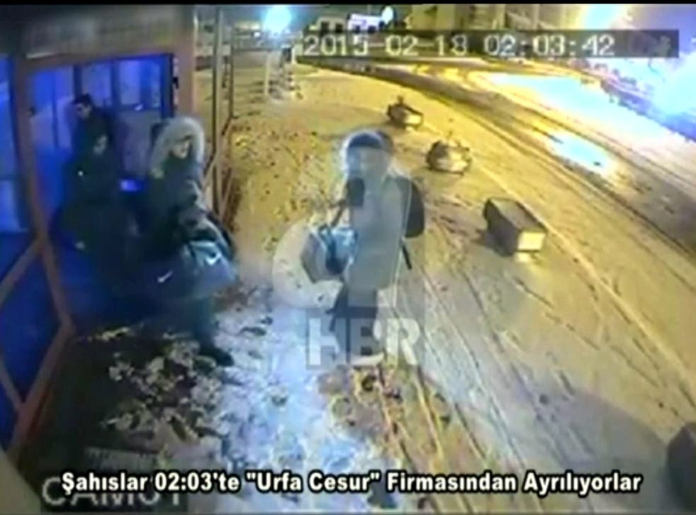 CCTV images of the three British girls who left for Turkey nearly two weeks ago at Istanbul bus station, from where they travelled to Urfa near the Syrian border