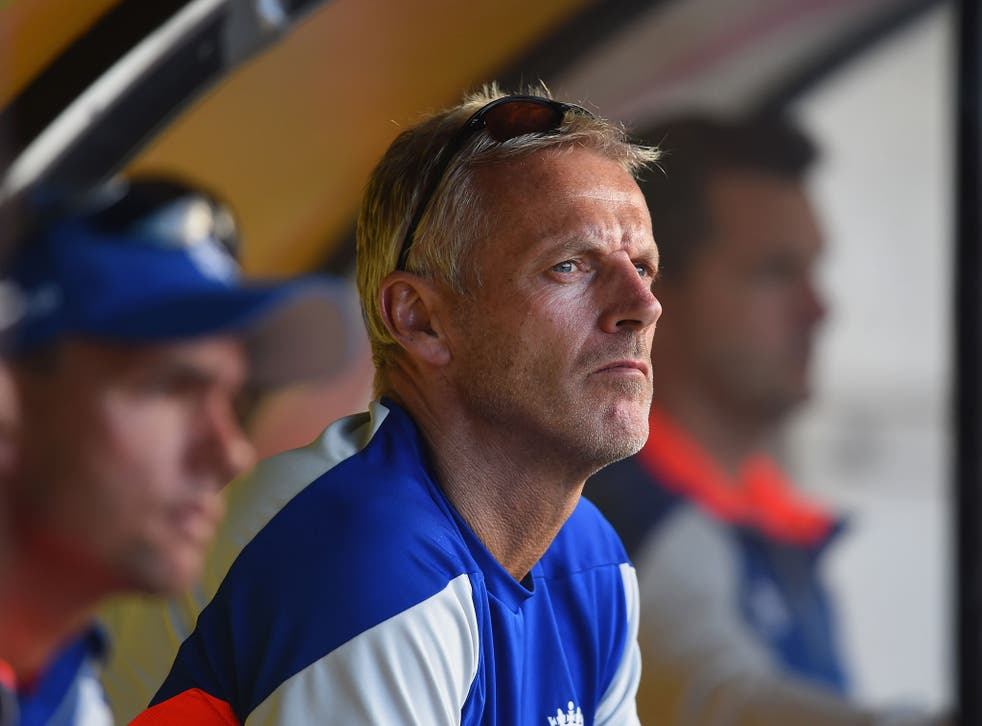 England coach Peter Moores watches his team's latest hopeless performance in Wellington