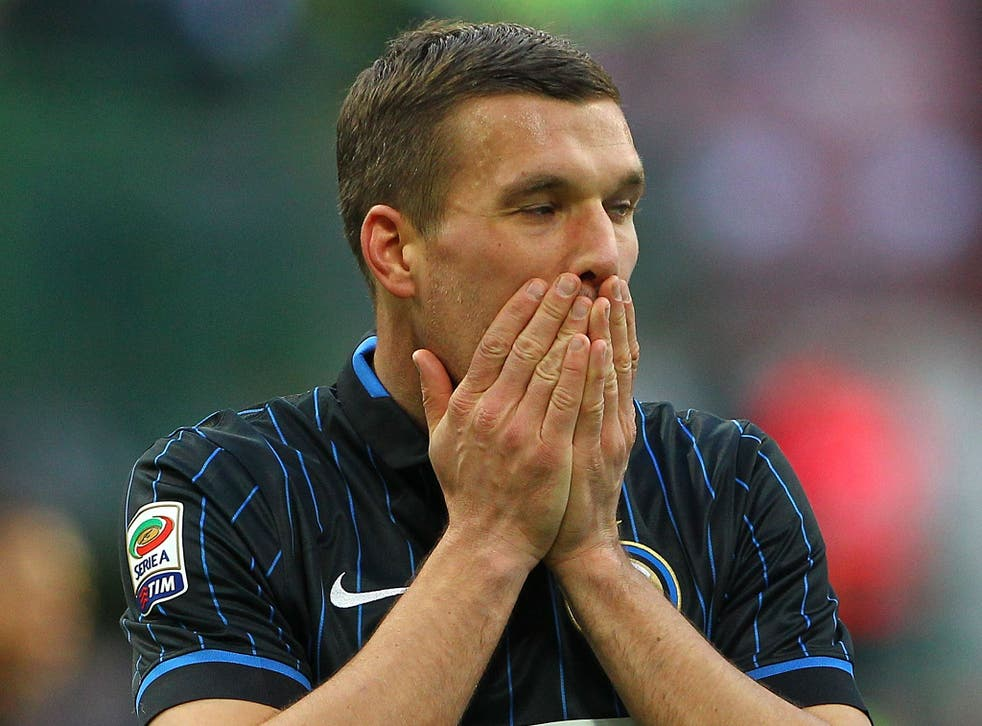 Lukas Podolski has not been playing well for Inter Milan