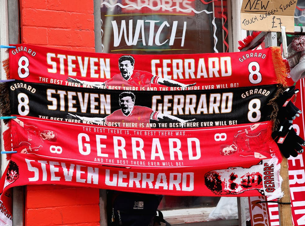 Steven Gerrard scarves on sale outside Anfield