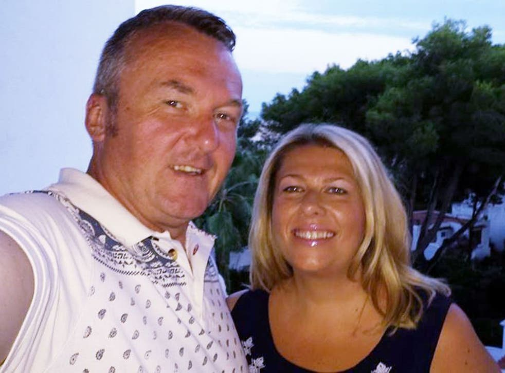 Conrad Clitheroe, 53, (pictured with his wife Valerie) who along with his friend, Gary Cooper, 45 and their former work colleague ex-pat Neil Munro, have been arrested in the United Arab Emirates