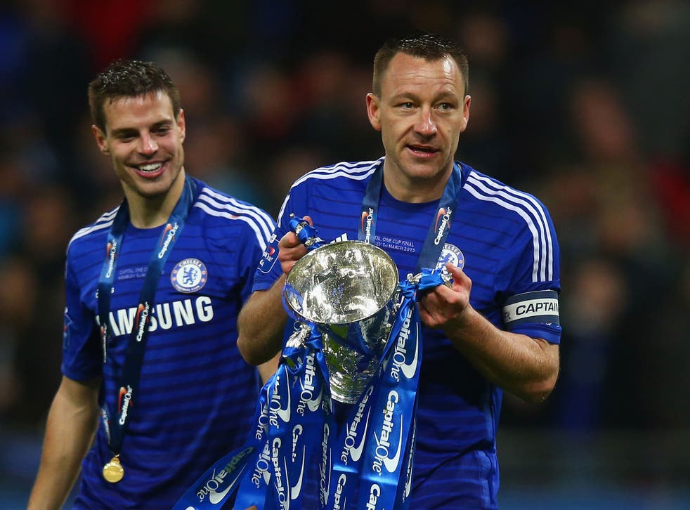 Chelsea captain John Terry holds the Capital One Cup