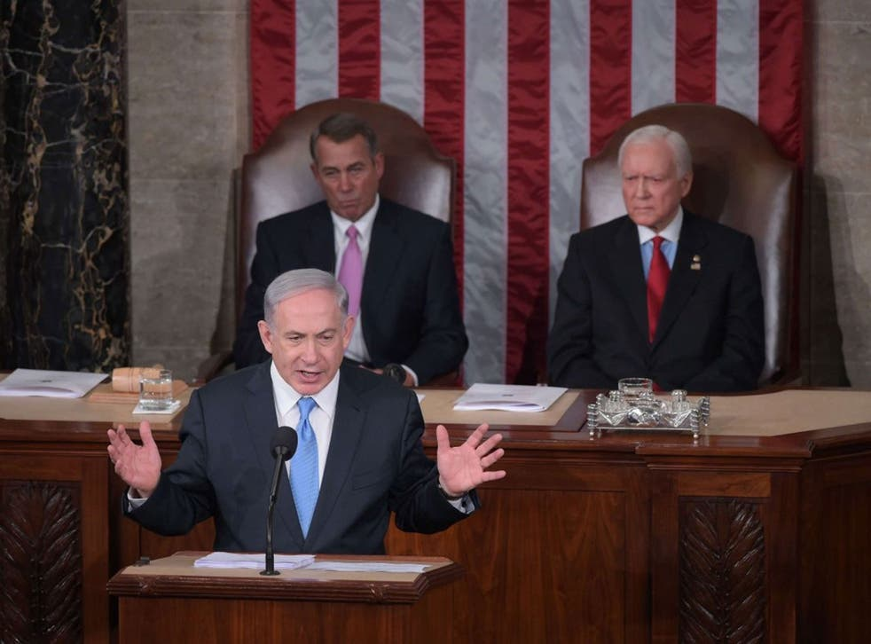 Israel's Prime Minister Benjamin Netanyahu addresses a joint session of the US Congress on March 3, 2015 at the US Capitol in Washington, DC.