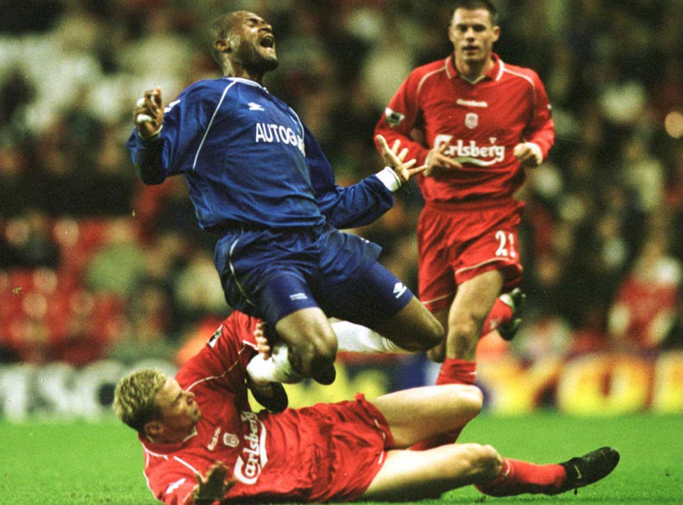 Winston Bogarde on one of the rare appearances for Chelsea in November 2000