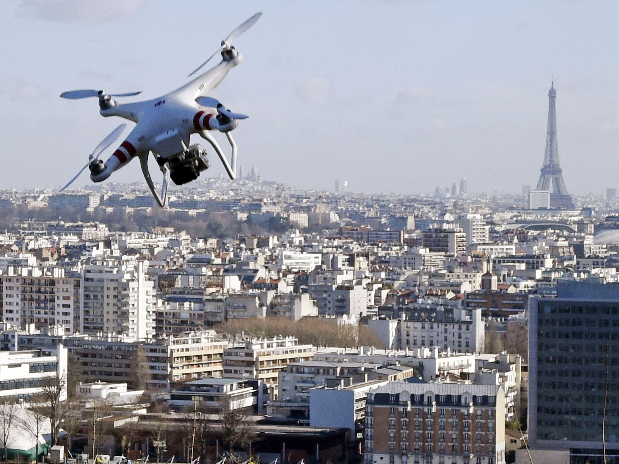 France acts to halt rise of drone flights over sensitive areas but defence ministry admits no immediate solution exists to combat the pilotless
