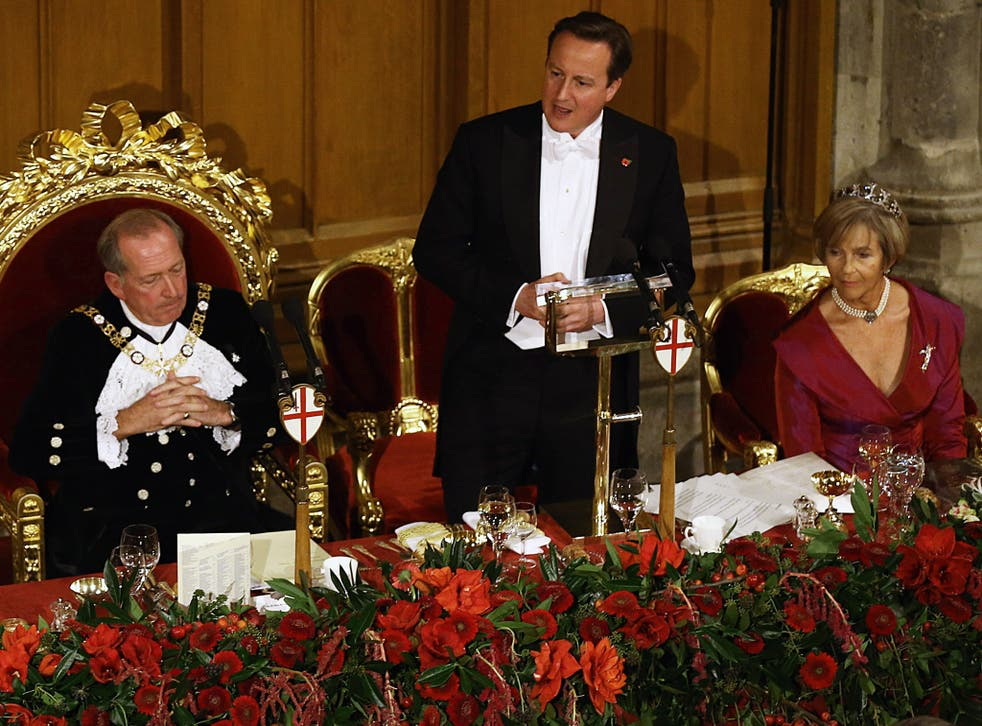 Prime Minister David Cameron makes a speech during the the Lord Mayor's Banquet at The Guildhall last November