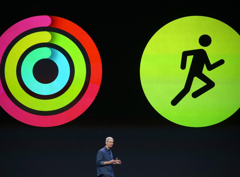 Tim Cook introduces the health and fitness tracking features of the Apple Watch at the event in September