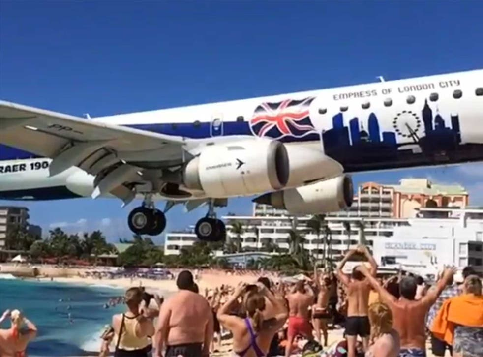 A still from the video showing a plane coming in to land at Prince Juliana International Airport