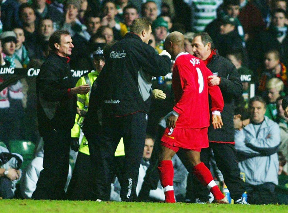 The first of two appearances on the list by the controversial Senegalese winger, Diouf was banned for two games and fined by both Glasgow Crown Court and his club Liverpool after spitting at Celtic fans during their UEFA Cup quarter-final clash. Diouf wou