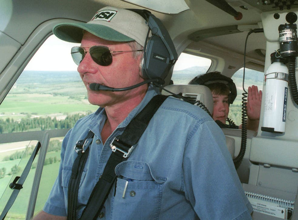 Actor Harrison Ford in his helicopter in 2001, where he found and rescued 13-year-old boy scout Cody Clawson in Wyoming