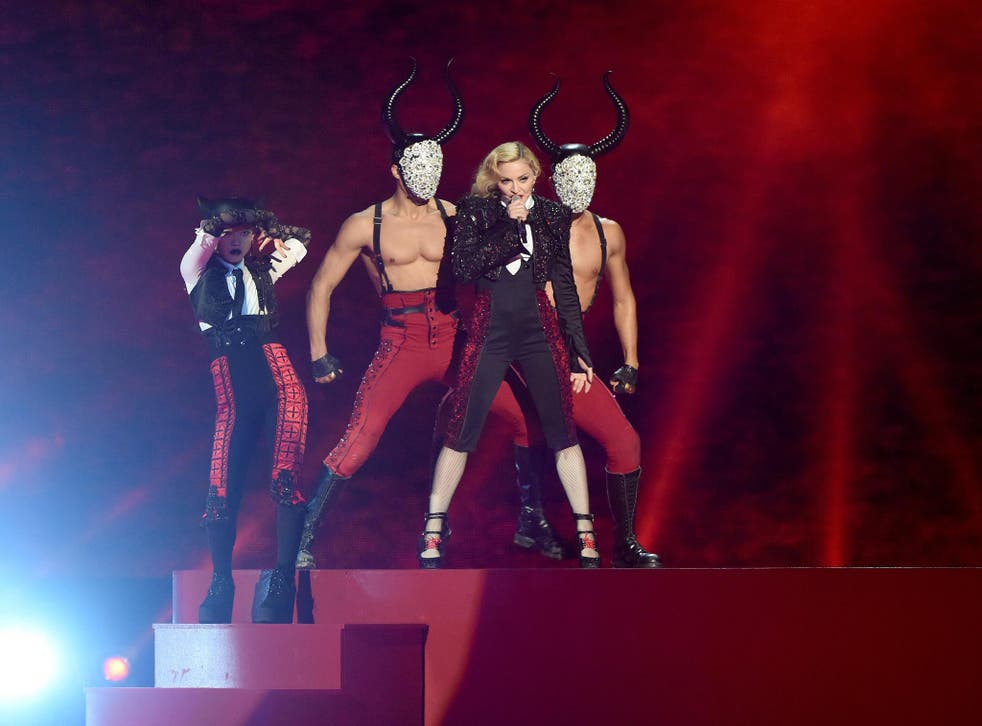 Madonna performs on stage during the BRIT Awards 2015