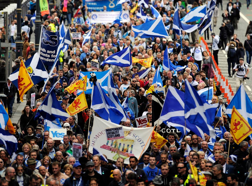 Supporters of a Yes vote in the Scottish independence referendum in Edinburgh in September 2013.