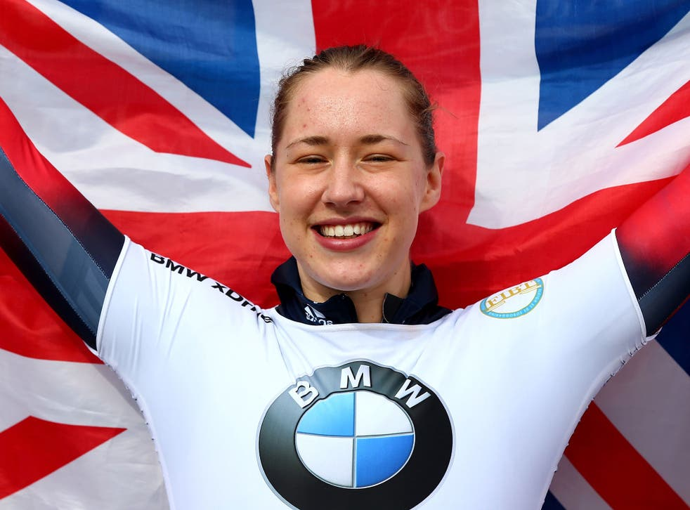 Lizzy Yarnold celebrates World Championship gold in the skeleton