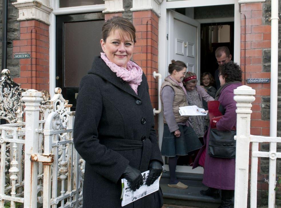 End third-rate devolution:  Plaid Cymru leader Leanne Wood on a doorstep campaign